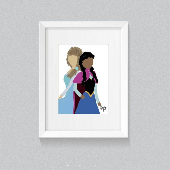 ANNA & ELSA 6x4 print. Original art by by EclecticGift on Etsy