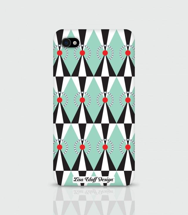 Green Circus - iPhonecase by Lisa Edoff Design #nordicdesigncollective #nordic #nordicdesign #autumn #backtoschool #backtowork #schoolstart #iphone #lisaedoffdesign #circus #green #greencircus #accessory #smartphoneaccessory #smartphone #case #pattern #red #dot #triangle #black #white