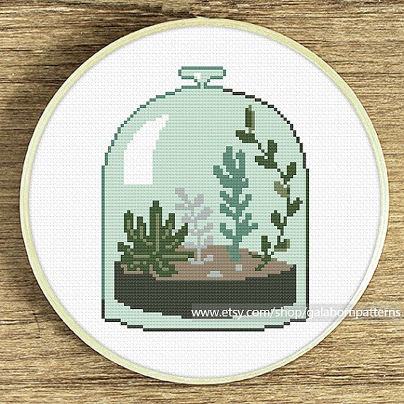 Succulent terrarium cross stitch pattern by galabornpatterns