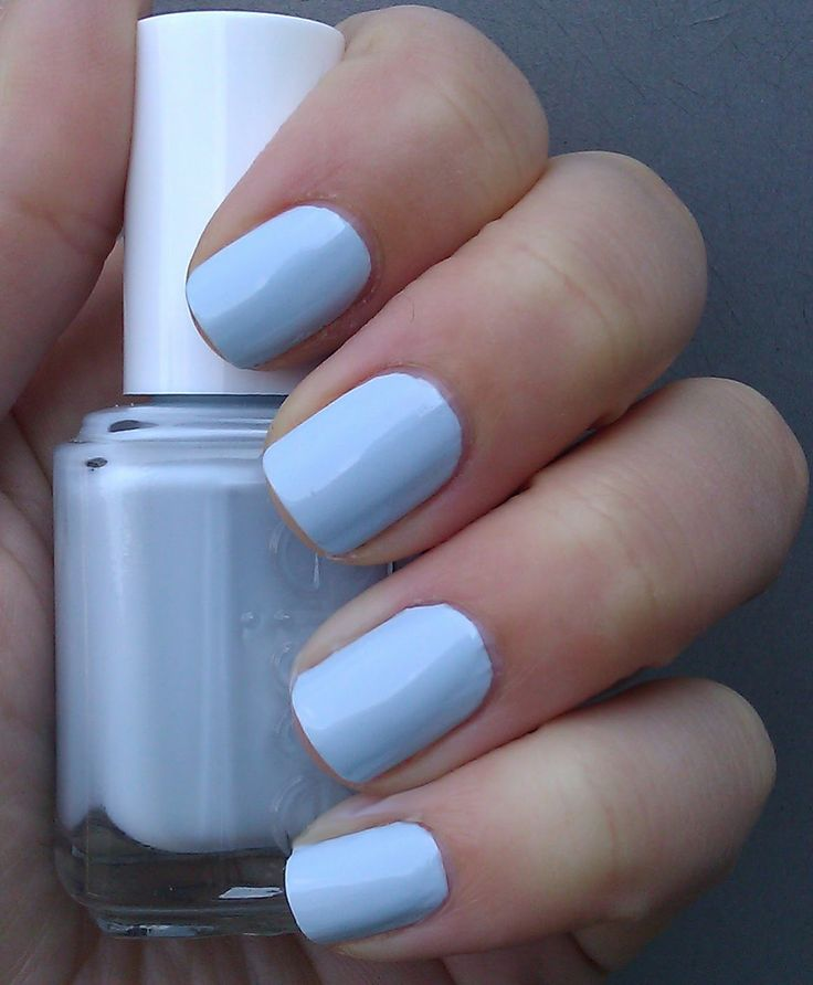 """Essie- Borrowed and Blue. I love this color! it  reminded me of the saying that is most brought up in weddings """"something borrowed something new, something old something new"""". It would be a great color to go with a wedding dress!"""