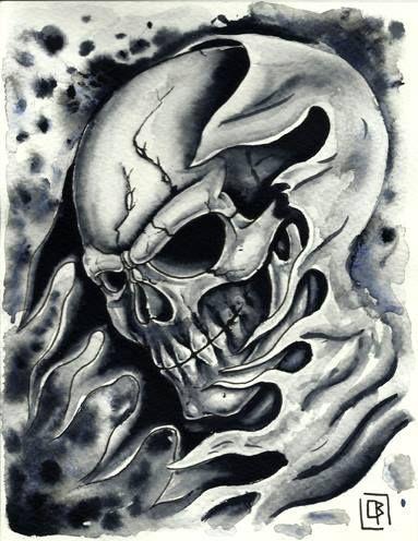 Calavera,skull,flash tattoo acuarela (13,5X17,5cm)