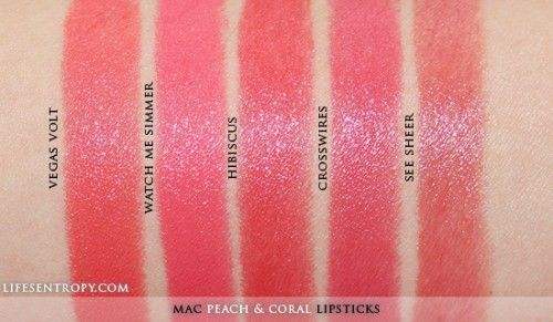 MAC Peach Coral Lipstick Collection swatches1