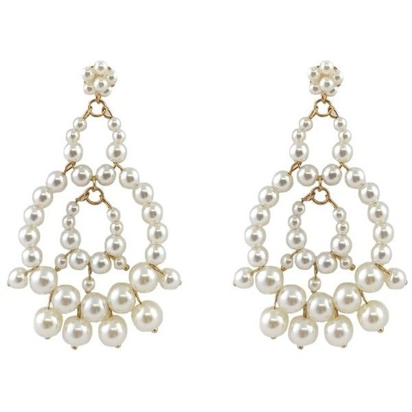 Pre-owned Pearl & Gold Chandelier Earrings (2765 RSD) ❤ liked on Polyvore featuring jewelry, earrings, white, white pearl earrings, gold earrings, gold chandelier earrings, pearl chandelier earrings and earring jewelry