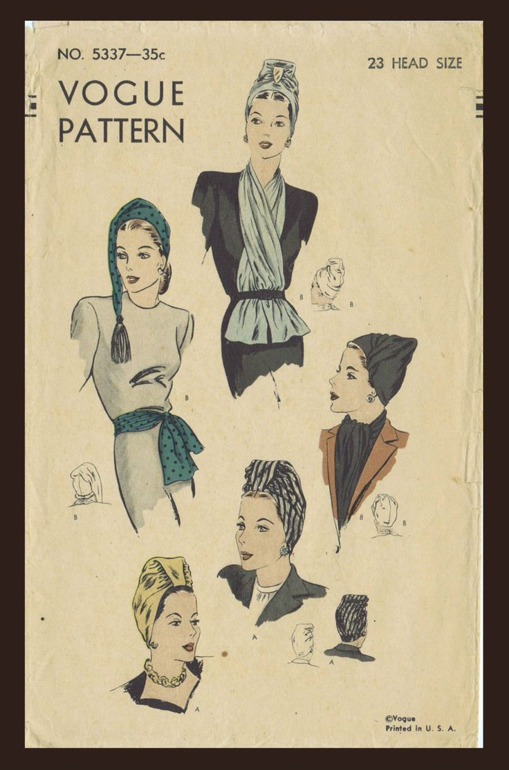 Pattern Peddler: 5337 Vintage 1940's VOGUE SEXY HOT TURBAN HATS Cap & SCARF Accessory Fabric Material Sew Pattern