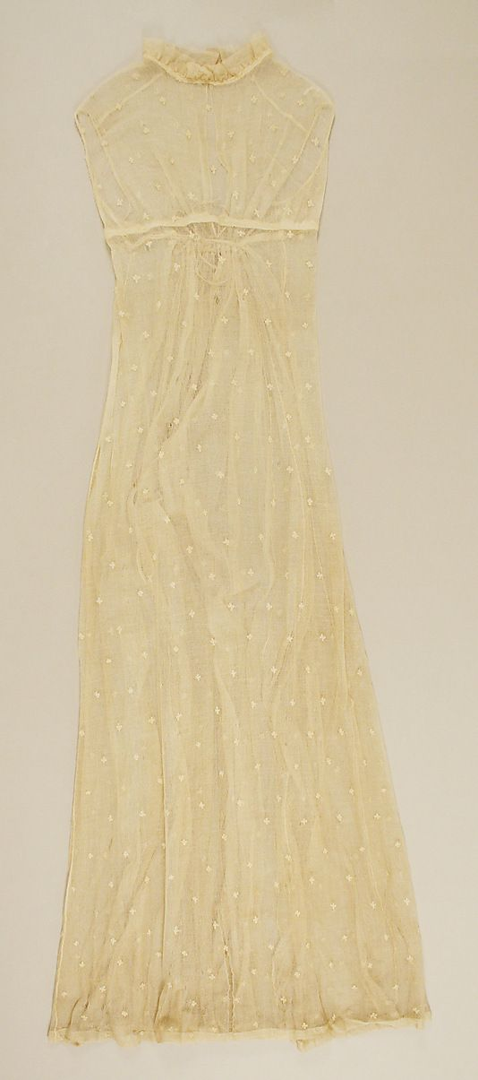 Lace Underdress, part of an ensemble (front view) Date: ca. 1803 Culture: French Medium: silk, cotton Accession Number: 35.98.1a–c