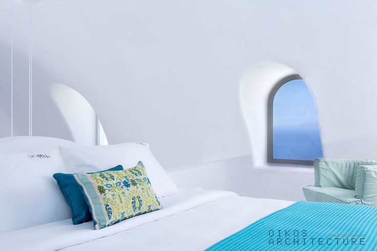 amazing, blue, relax, hotel bedroom, santorini, fabric, arch, vault, traditional, minimal, island