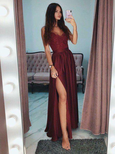 Sexy Slit Burgundy Spaghetti Straps Long Prom Party Dress