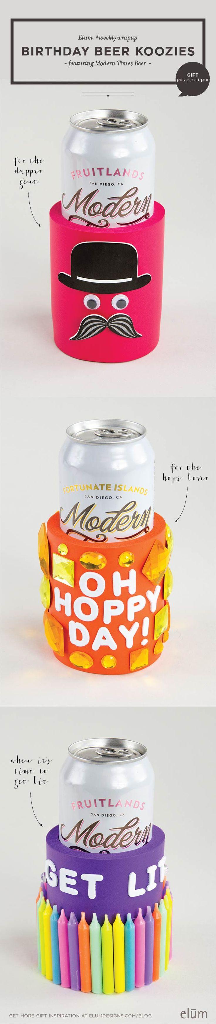DIY Birthday Beer Koozies! Cheers!