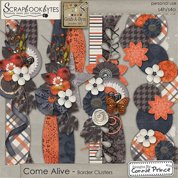 Come Alive - Border Clusters :: Page Edges :: Embellishments :: SCRAPBOOK-BYTES