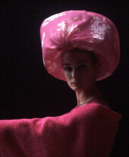 Pink chiffon hat by Pierre Cardin 1962