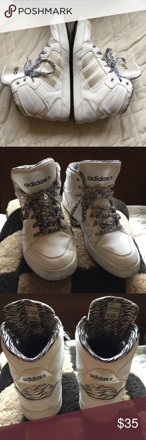 Adidias NEO Label Raleigh, Mid High Tops, zebra Adidas NEO label Raleigh mid-hightops. Fair condition. Ortholite sole pads, feel like memory foam! Size 8.5. Adidas Shoes Sneakers
