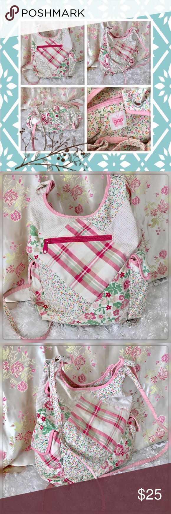 "Gap Pink Patchwork Shabby Chic Backpack 13"" x 13"" side pockets and front Zipped Pocket. Gently used with no flaws GAP Bags Backpacks"