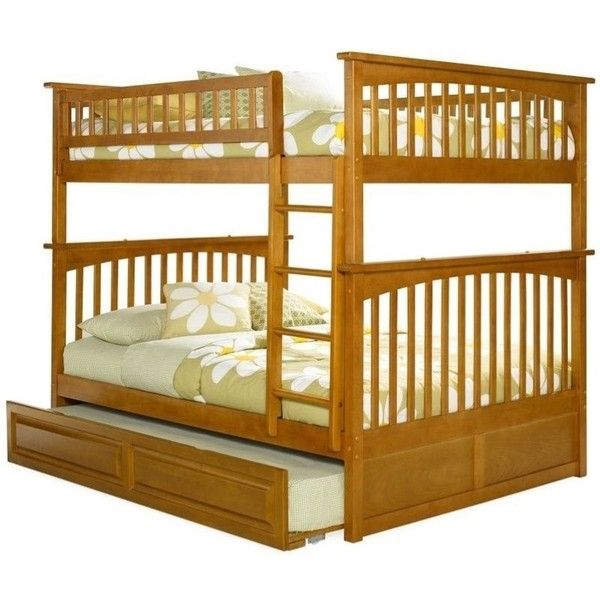 Atlantic Furniture Columbia Full Over Full Bunk Bed ($865) ❤ liked on Polyvore featuring home, children's room, children's furniture and brown