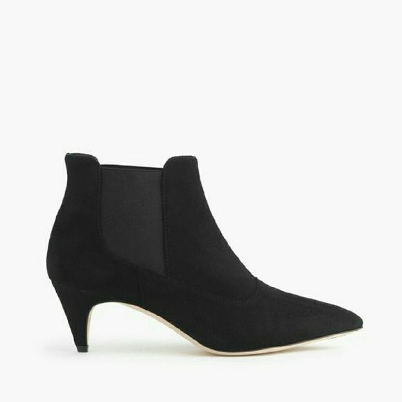 ISO J.Crew suede kitten-heel chelsea boots Looking for ISO J.Crew suede kitten-heel chelsea boots. Size US8 or US8.5. Black color J. Crew Shoes Ankle Boots & Booties