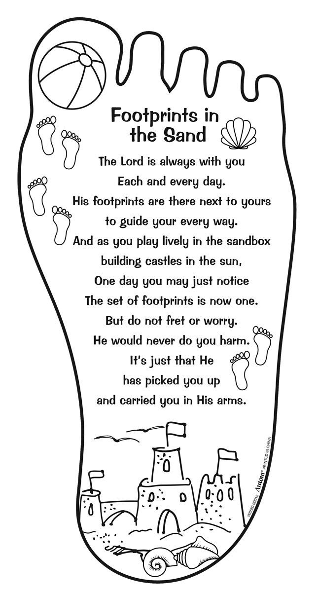 Footprints Prayer Coloring Pages Sunday School Coloring Sheets
