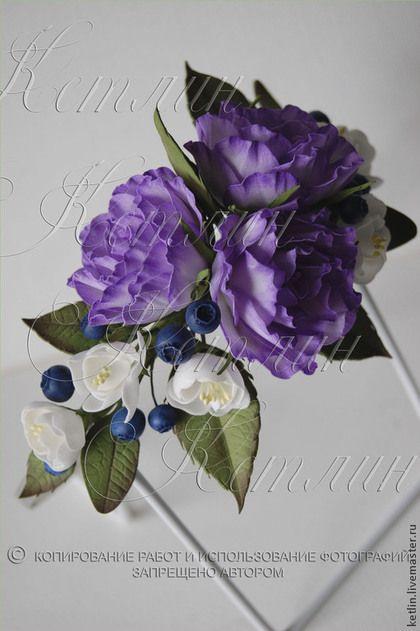 Диадемы, обручи ручной работы. Ярмарка Мастеров - ручная работа Ободок с розами, цветами вишни и черникой. Handmade.