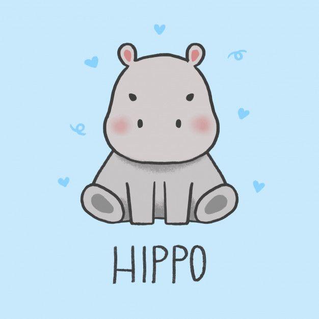 Cute Hippo Cartoon Hand Drawn Style Cute Cartoon Drawings Cute Animal Drawings Cute Doodles