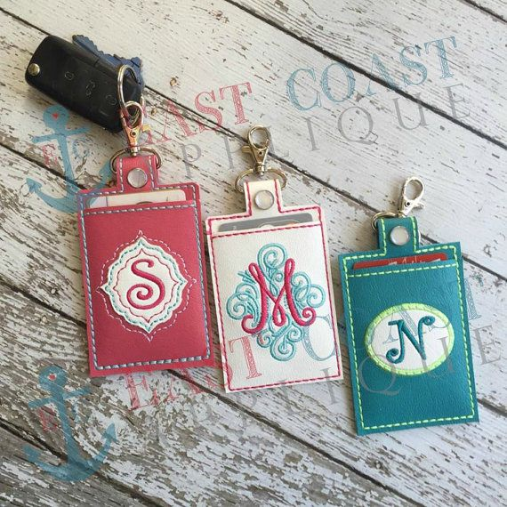 Create a stylish, personalized Keyfob Card Case with vinyl, leather or suede in the hoop! You can even use some wool felt. This Keyfob would be