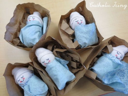 Sock baby craft - birth of Jesus