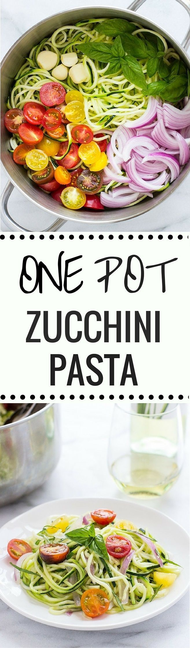 One Pot Zucchini Pasta- an easy, light and healthy meal made from summer's finest produce. Grain-free, gluten-free and it comes together in less than 20 minutes!