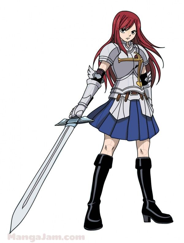 How to Draw Erza Scarlet from Fairy Tail step by step ...