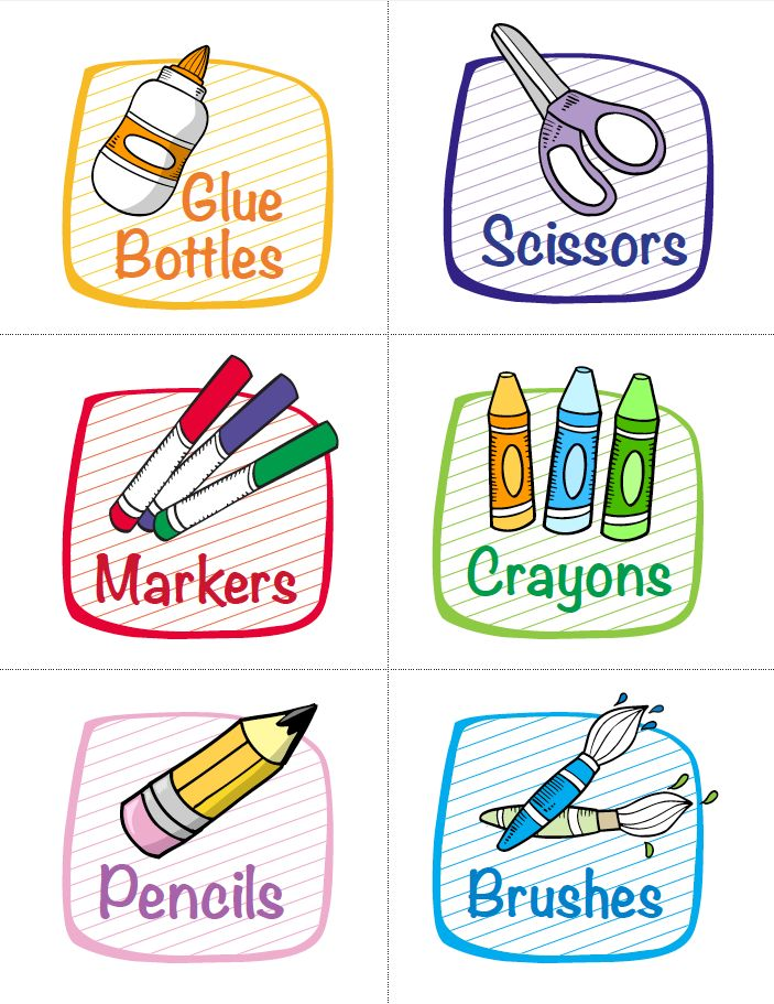 Free Labels for Classroom Supplies | Getting ready for back to school is simpler than ever with these free colorful labels. The fun illustrations will help even young students find it easy to keep classroom supplies organized throughout the school year.