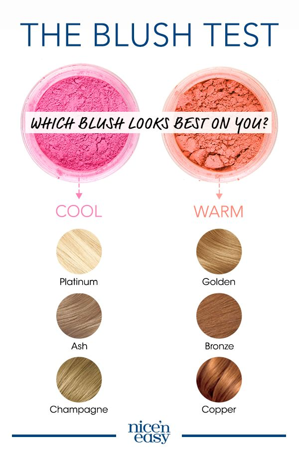 "Here's how to choose a hair color based on your skin tone: Dust a generous amount of pink blush on one cheek and peach on the other. Stand by a window and look in a mirror to determine which one blends best with your skin. Cool tones look good in pink and should gravitate towards hair color shades in ""ash,"" ""platinum"" and ""champagne."" Warm tones prefer peach and look great in shades that have hints of ""bronze,"" ""copper"" and ""golden."""