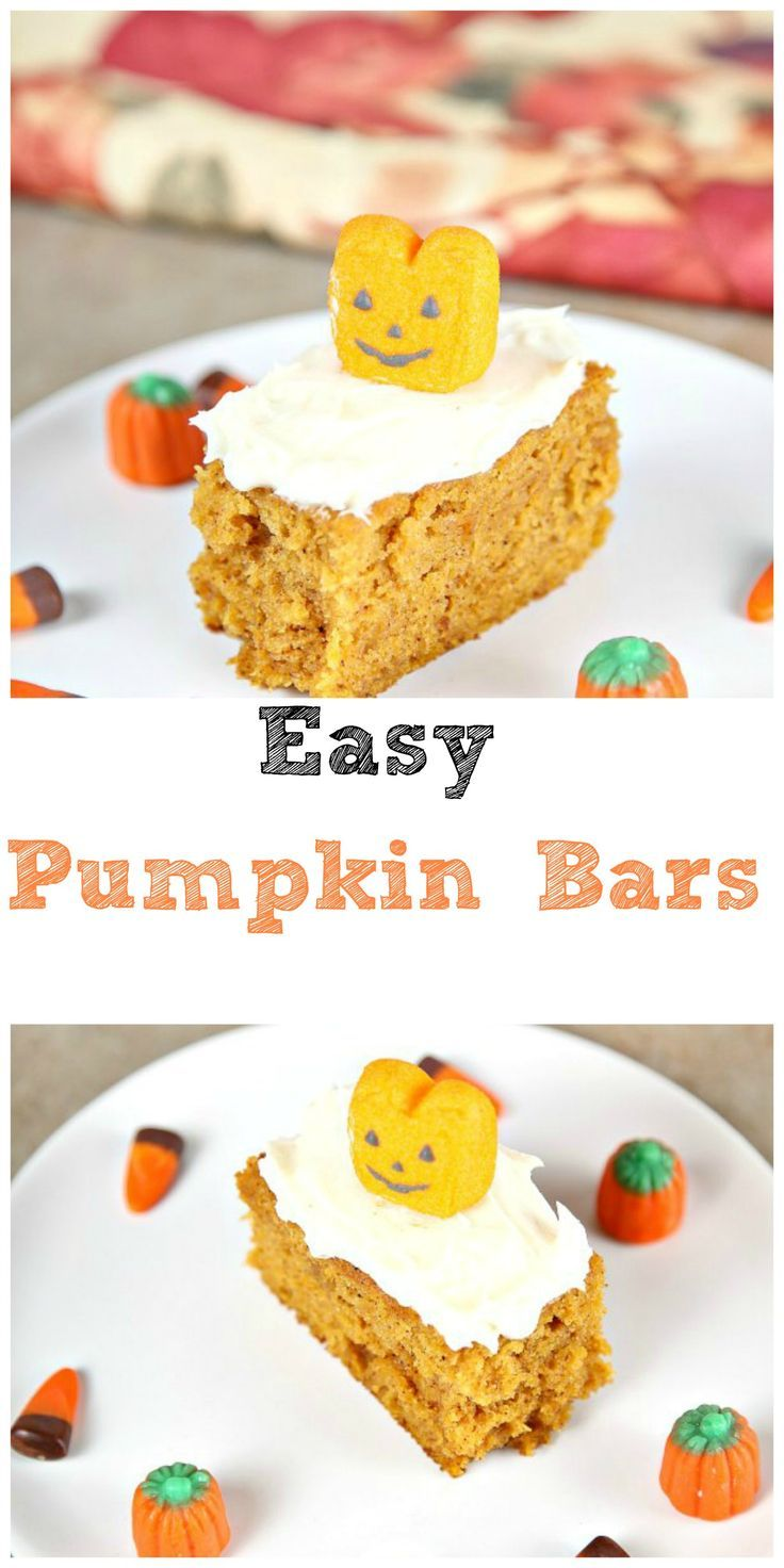 Moist lightly spiced pumpkin bars topped with a generous helping of cream cheese frosting.