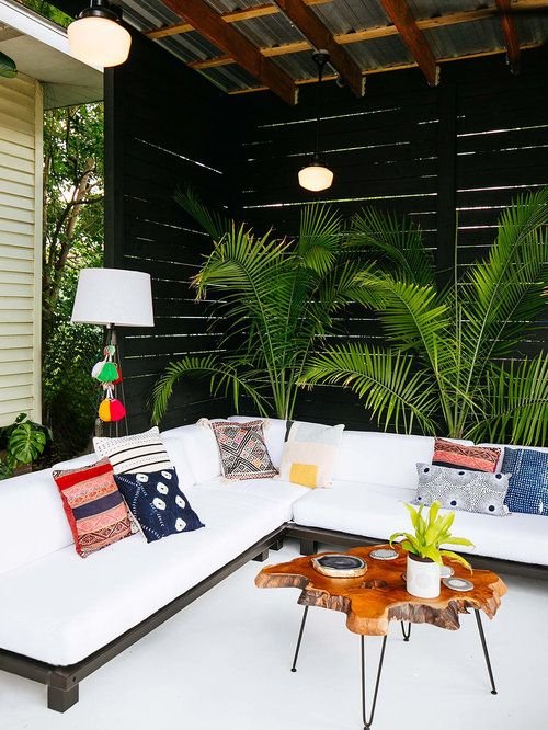 Love this white outdoor sectional + fun pillows | Old Brand New
