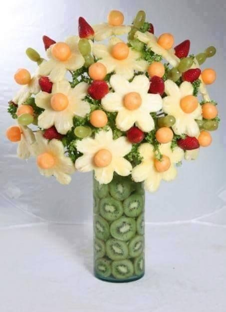 Easter-Food idea-flower bouquet-Grapes, strawberries, melon balls, parsley and pineapple flowers with kiwi stem