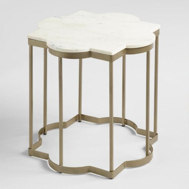 White Marble Arabesque Side Table: Our Worldly Side Table Elevates Your Favorite Spaces With