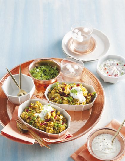 Recept voor kip biryani met cranberry's en pistachenoten