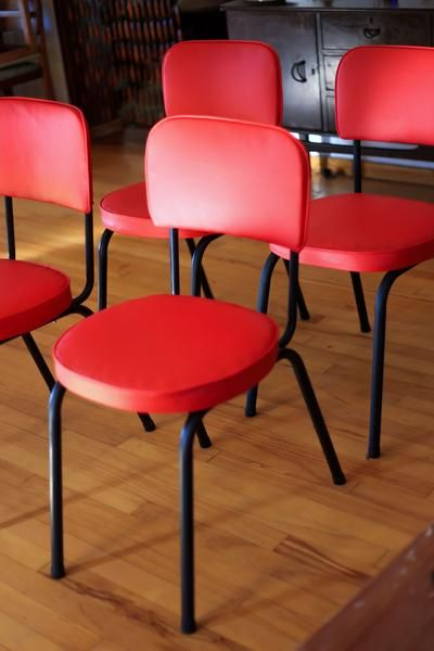 Four Retro Steel and Vinyl Kitchen Chairs