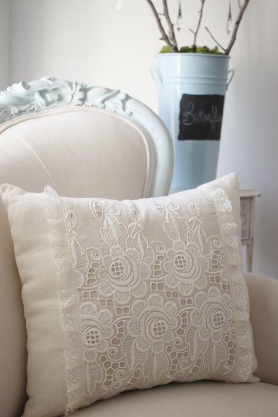 Vintage French cutwork embroidery pillow w/cream rosebuds and fleur design