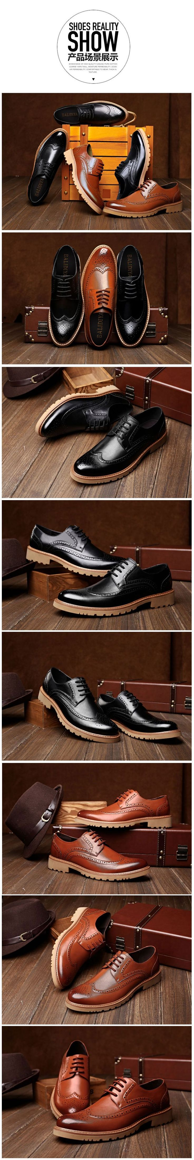 Baroque Oxfords Retro Brogues Carving Elevator Dress shoes Height Increasing 8cm / 3.15inches