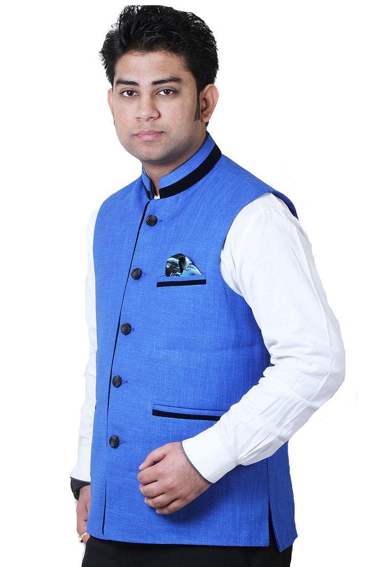 Buy Designer GETABHI Blue Cotton Modi Jacket For Men Online at GetAbhi.com http://tinyurl.com/jj8qxjq