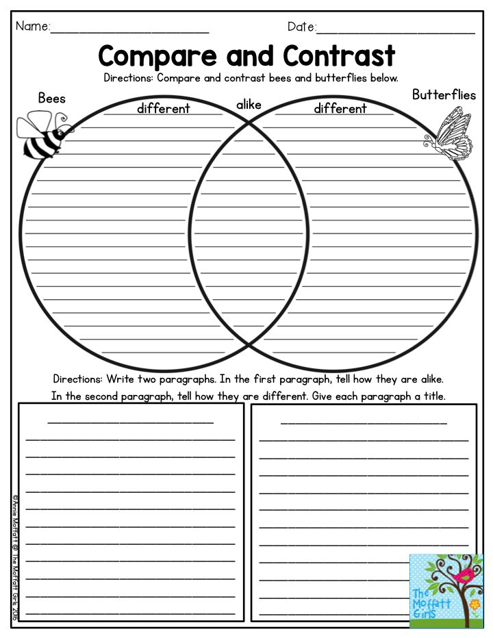 Compare and contrast worksheets 4th grade