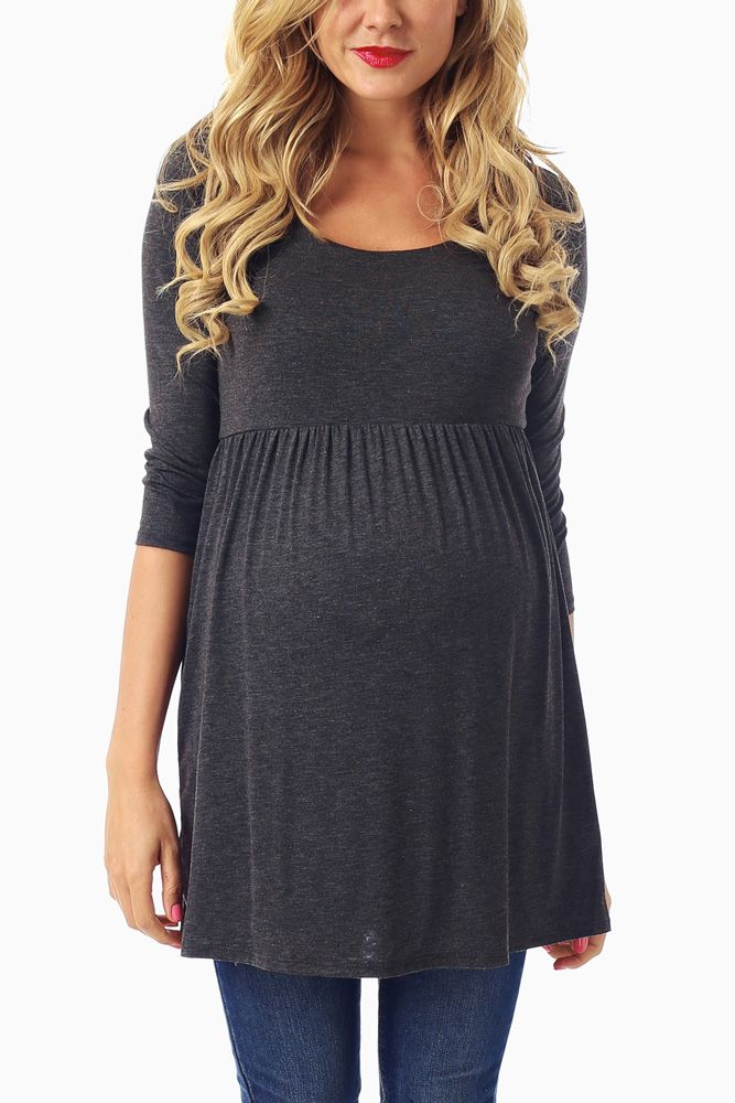 Charcoal-3/4-Sleeve-Maternity-Top #pinkblush #maternityclothes #holidaymaternityoutfits