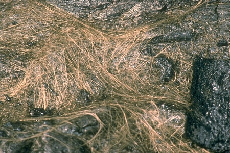 Hawaii's Amazing Volcanic Rocks Becky Oskin, OurAmazingPlanet Staff WriterDate: 14 May 2013 Pele's hairCredit: USGS. As winds stretching strands of lava cool the rock to glass, Pele's hair forms. Pele's hair can appear at the front of 'a'a flows or as pahoehoe lava plunges over a cliff, according to the U.S. Geological Survey. The long strands (up to 6 feet, or 2 meters) are also found around Kilauea volcano's Halema'uma'u crater, home of an active lava lake.