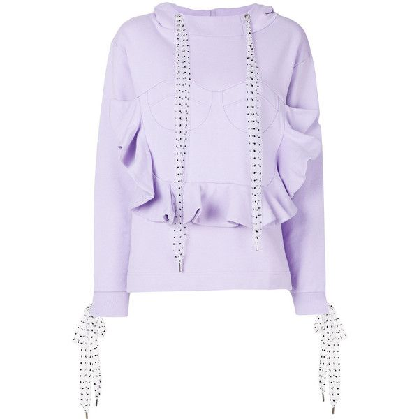 House Of Holland ruffled front sweatshirt ($193) ❤ liked on Polyvore featuring tops, hoodies, sweatshirts, purple sweatshirt, ruffle front top, purple top, house of holland and cotton sweatshirts