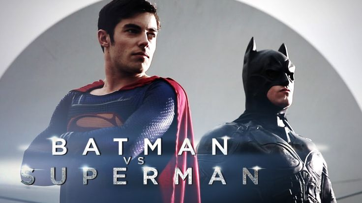 "French Actors Valentin D'Hoore as Superman and Grégory Amsis as Batman in ""Man of Steel 2: The Secret Is Out"", a fake trailer about Batman vs. Superman released by a French comedy station (December 2013)."