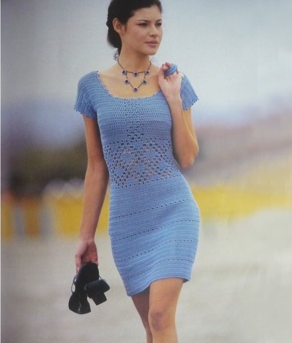Crochet dress PATTERN, crochet cocktail dress PATTERN, detailed description in English, beach crochet dress PATTERN, tightly fitted dress.