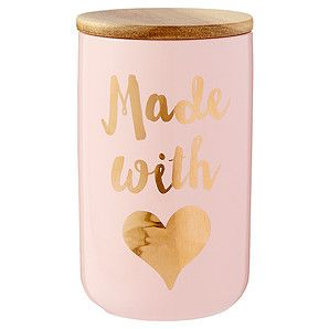Target Australia: Lisa T Made With Love Canister – $20.00  Soft colours, bold typography and metallic finishes! This is definitely on trend.  target.com.au