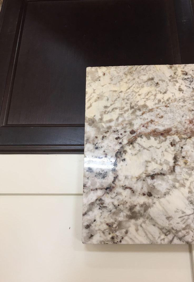 Kitchen cabinets - Towne Espresso; Island-Towne Antique White; Granite- White Springs
