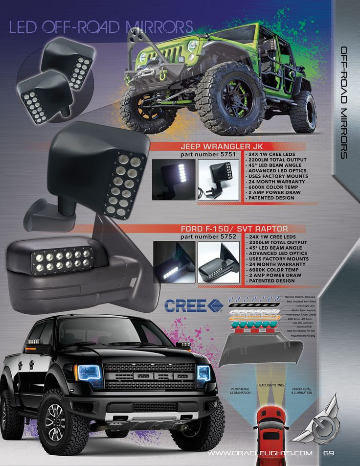 OFF Road Mirrors... http://dragonbydesign.bigcartel.com/product/oracle-halo-kits-automobile Message us for prices on off- road mirrors for your Jeep Wrangler JK and 2014 Ford F150/ Raptor