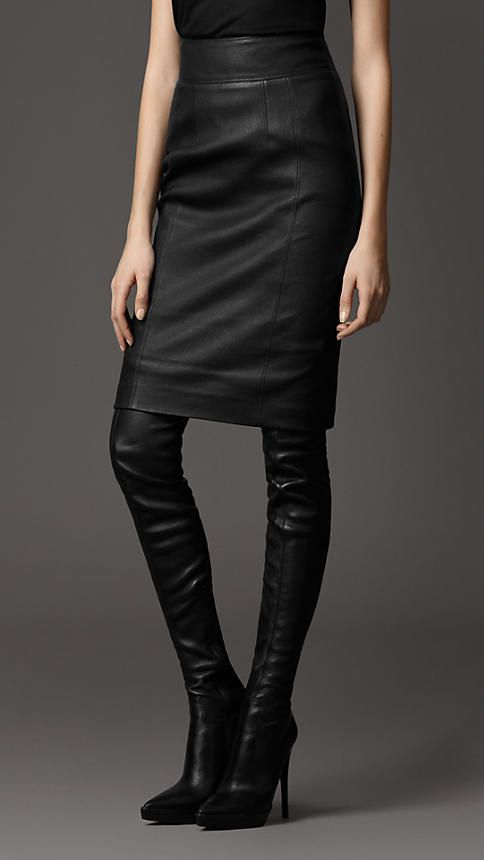 Burberry London Leather Pencil Skirt. This looks perfect. *want*