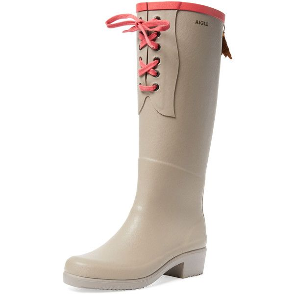 Aigle Miss Juliette Lace-Up Rain Boot ($139) ❤ liked on Polyvore featuring shoes, boots, grey, wellington boots, women shoes, low heel boots, laced boots and rubber rain boots