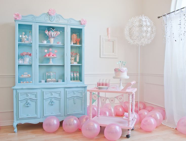 Whimsical party decor: Little Girls, China Cabinets, Birthday Parties, Parties Ideas, Girls Birthday, Parties Theme, Balloon, Girls Rooms, Pink Parties