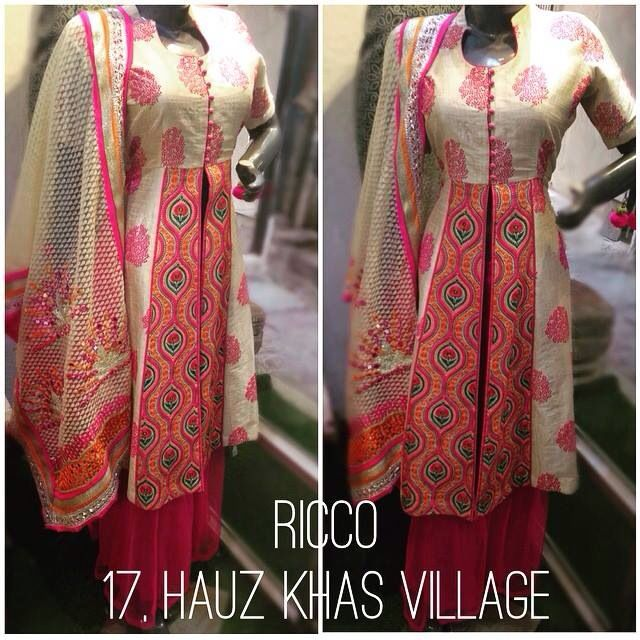 Beautiful colourful thread Rajasthani work kurti with sharara pants. Indowestern outfit for the summers  For orders/details/customisation contact us on +918800511005. Find more of our collection on www.facebook.com/riccoindia or @riccoindia on Instagram