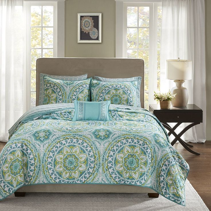 Modern Blue Green Teal White Cal King Coverlet Set